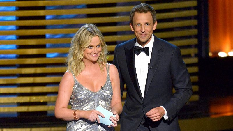 Seth Meyers wasn't trying to set the world on fire with his Emmys hosting duties, a fact that was highlighted early when the radiant Amy Poehler took the stage.
