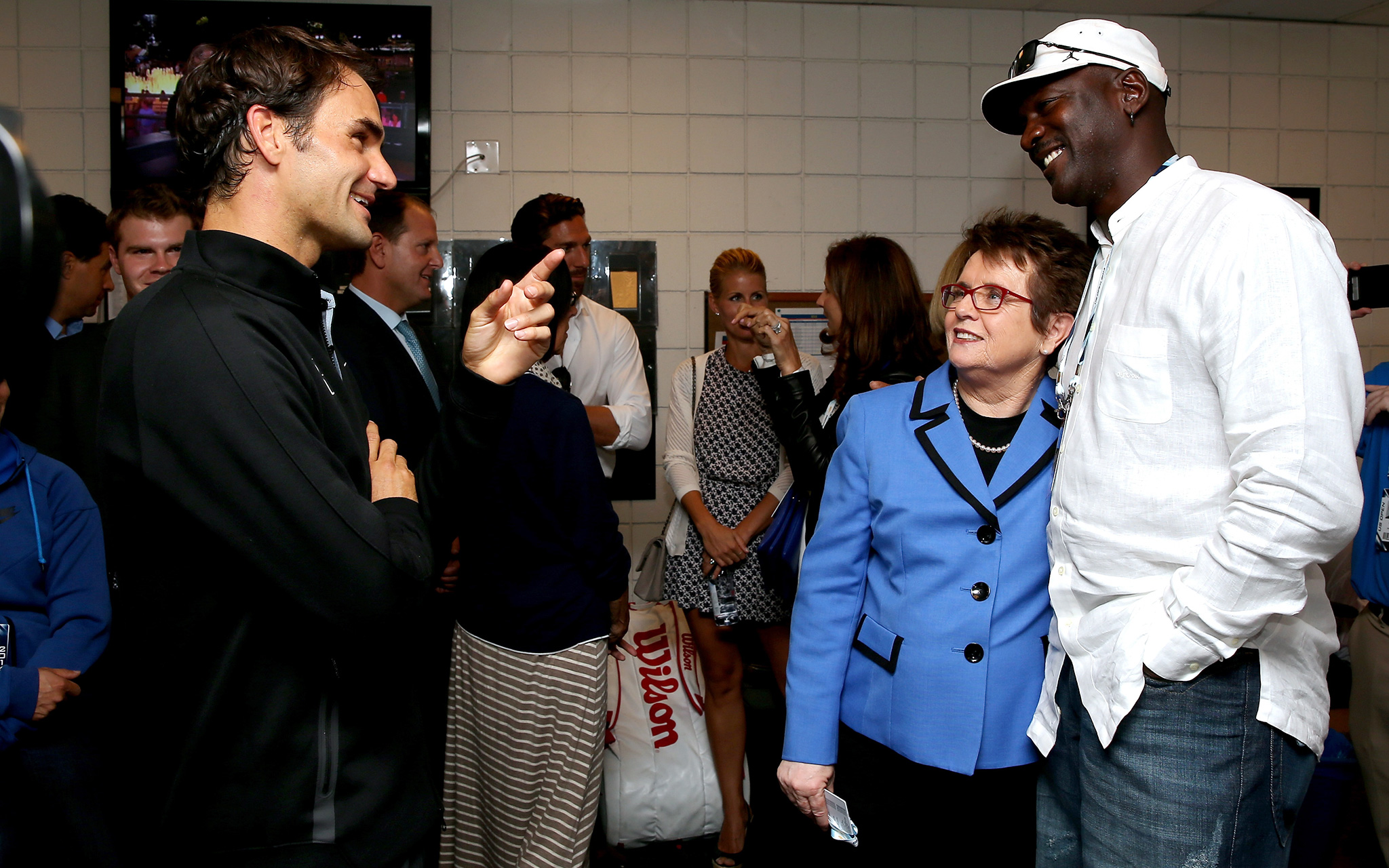 The stars came out for Roger Federer in his first-round match Tuesday, including the likes of Billie Jean King and Michael Jordan.