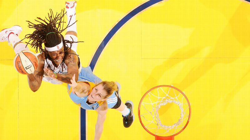 Shavonte Zellous, left, attacked the Sky defense and scored 18 points for the Fever.