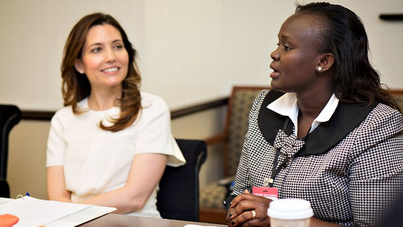 Maqulate Onyango, right, speaking next to Assistant Secretary of State Evan Ryan on Wednesday at the U.S. Department of State, grew up in a Nairobi slum, where sports were a hugely positive influence in her life.
