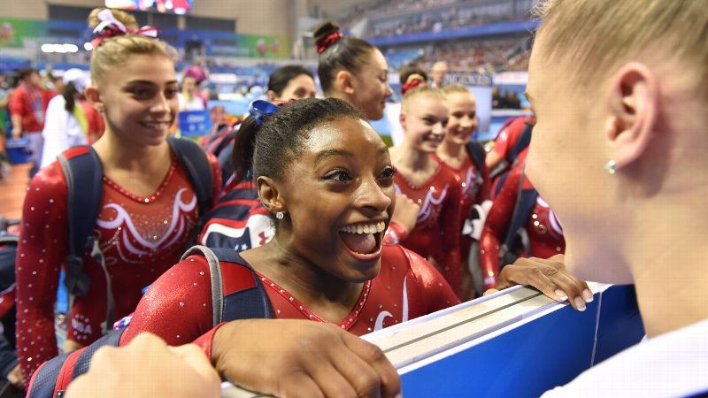 Simone Biles won four gold medals at last week's world championships -- and is considered nearly unbeatable right now.