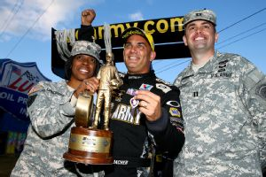 Tony Schumacher, who piloted his U.S. Army-sponsored dragster to victory at Maple Grove Raceway Oct. 5, owns a whopping 134-point lead over second-place Doug Kalitta.