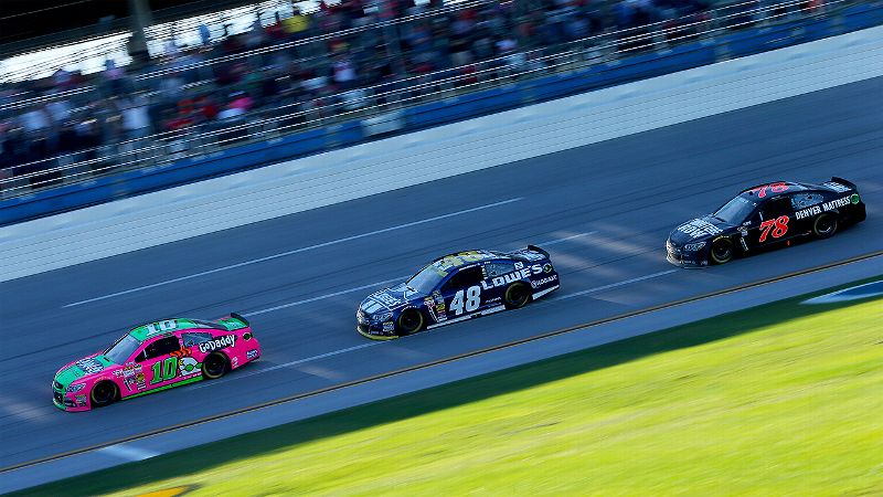 Danica Patrick passed six-time series champion Jimmie Johnson for the lead on Lap 167 of a scheduled 188 and held it for seven laps.