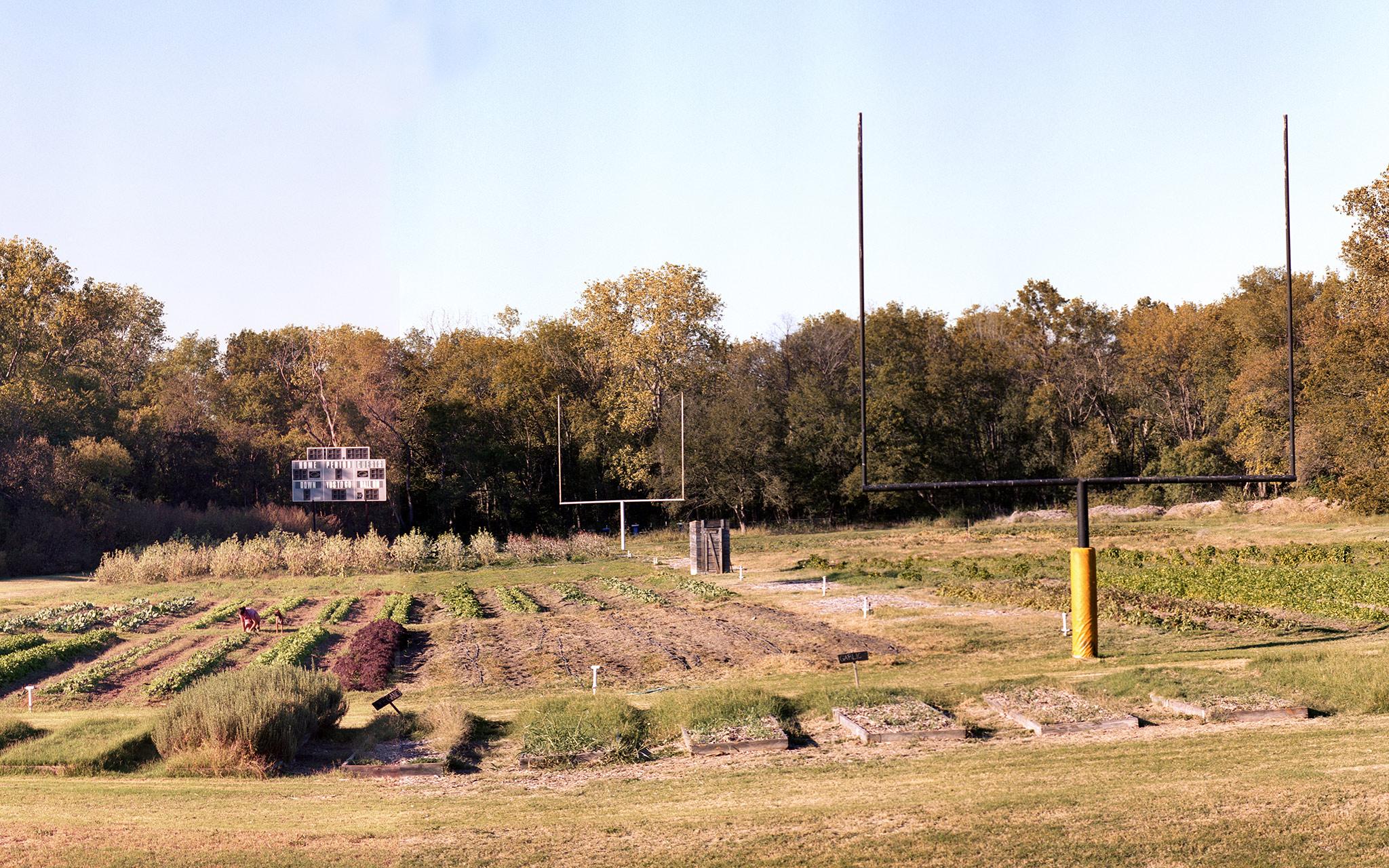Between the goalposts