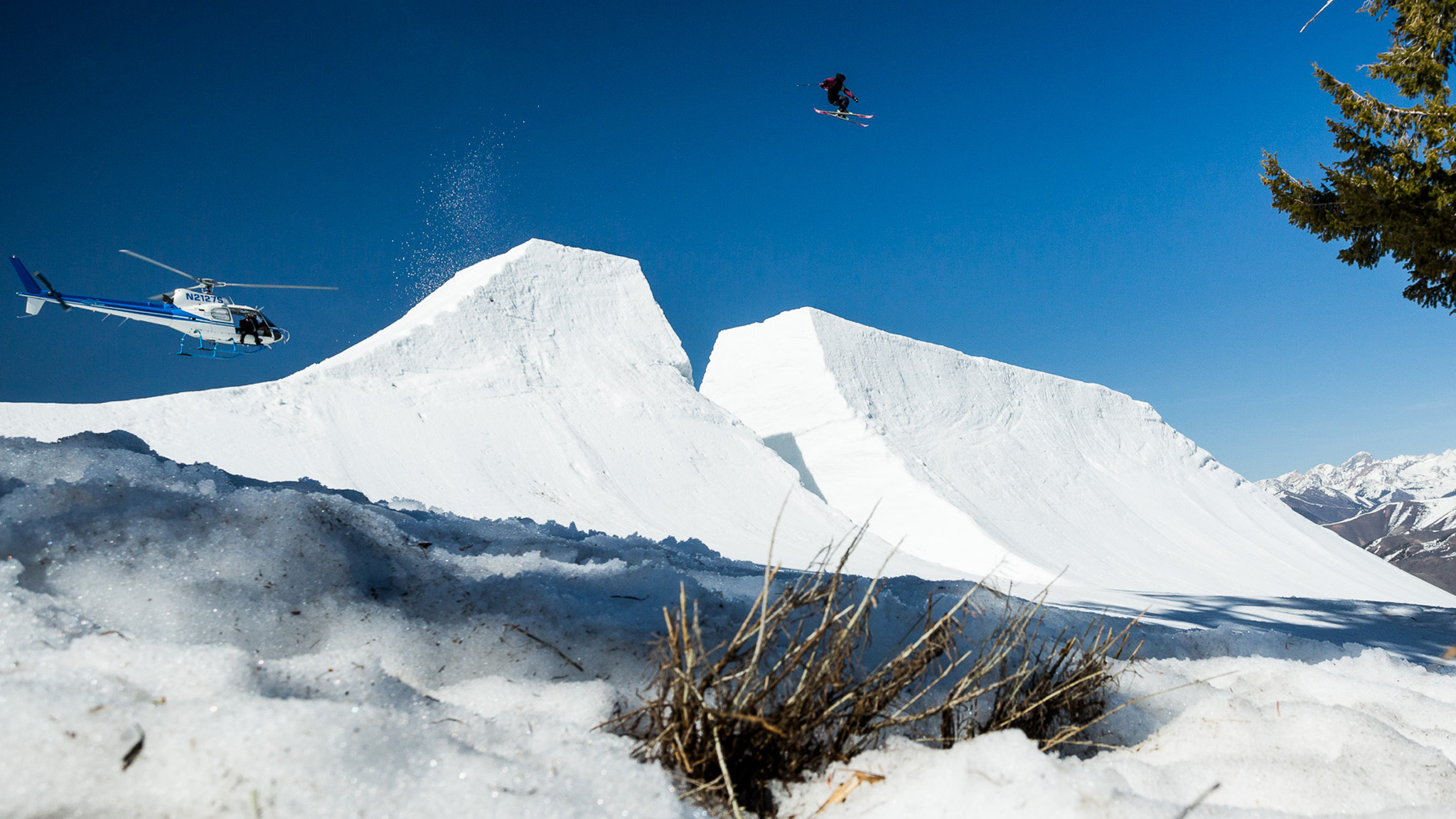 Lucas Stål Madison sends it over a hip jump at Sun Valley, Idaho, while filming with Level 1.