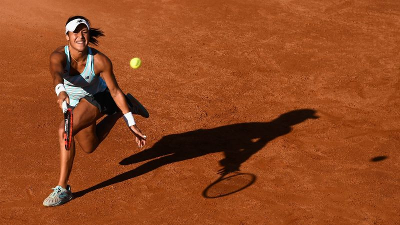 Heather Watson reaches for a return during the Italian Open in Rome
