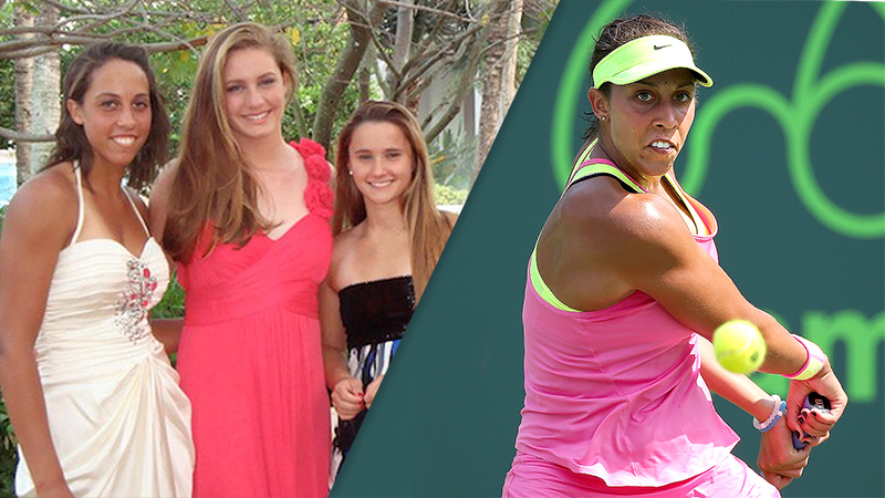 Madison Keys (left), with fellow pro tennis player Lauren Davis (right)