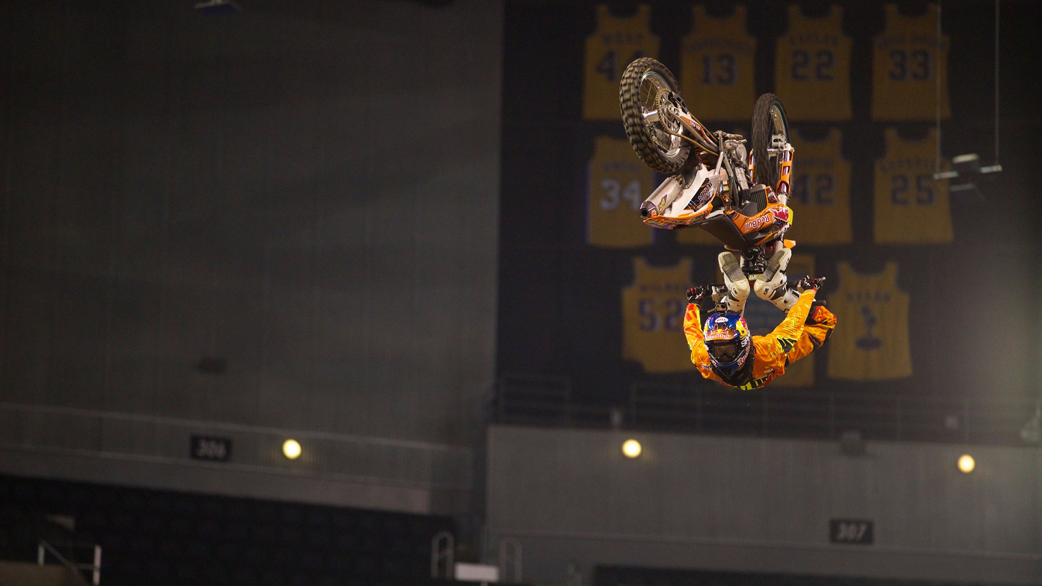 Levi Sherwood (pictured here at X Games) wowed  with the Egg Roll -- a backflip over a quarterpipe transfer -- at the 2013 Red Bull X-Fighters in Mexico City, and is a heavy Moto X Quarterpipe medal contender in Austin.