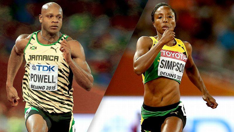 Asafa Powell and Sherone Simpson