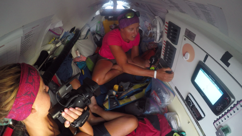 Cramped quarters inside the small cabin.