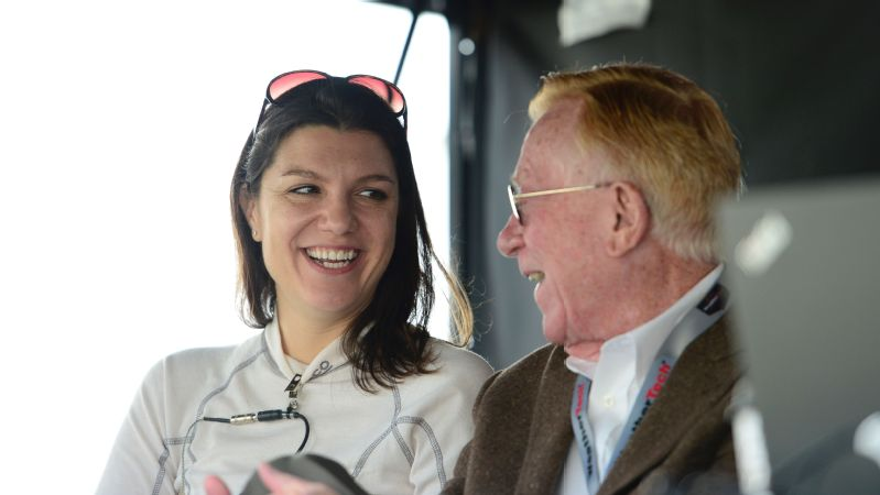 Driver Katherine Legge, with DeltaWing project owner Dr. Don Panoz, will pilot a Panoz DeltaWing Racing car this weekend at the Rolex24 at Daytona.