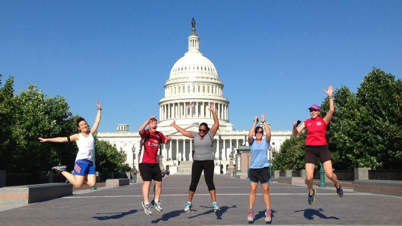 Tourists on a City Running Tour of Washington D.C.