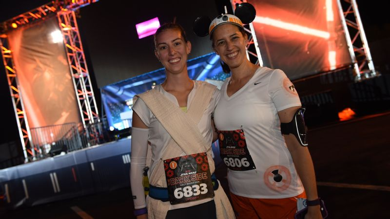 Rey and BB-8 ready for the Dark Side Half Marathon.