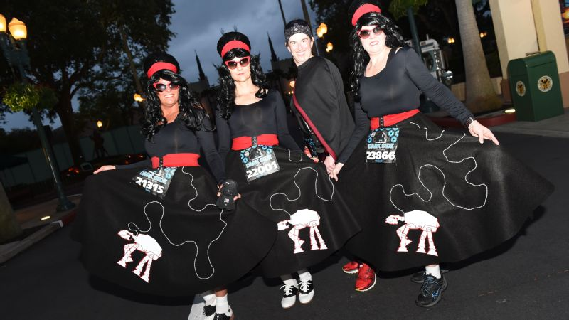Coming straight from the Star Wars hop, these ladies showed off their AT-AT walker skirts before the Star Wars 10K.