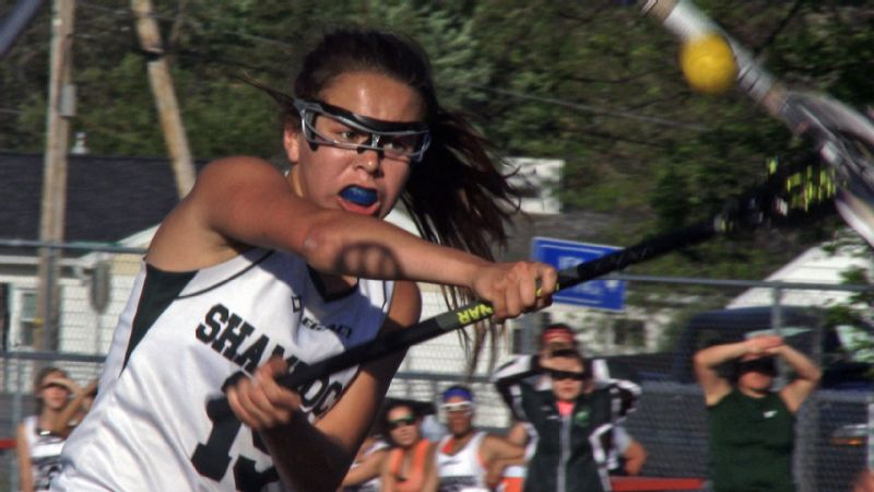 Salmon River High School lacrosse player Jacelyn Lazore shoots in the documentary Keepers of the Game.