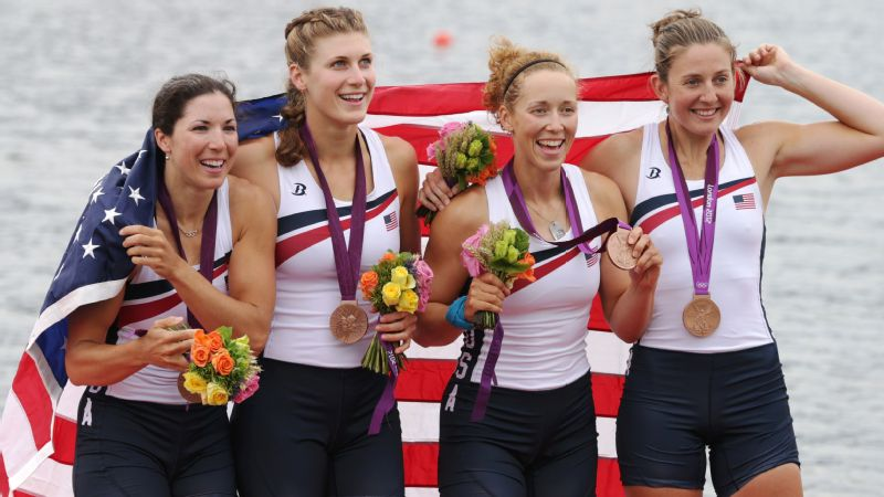 The 2012 London Olympics bronze-medal winning team in quadruple sculls (left to right): Natalie Dell-O'Brien, Kara Kohler, Kalmoe and Adrienne Martelli.