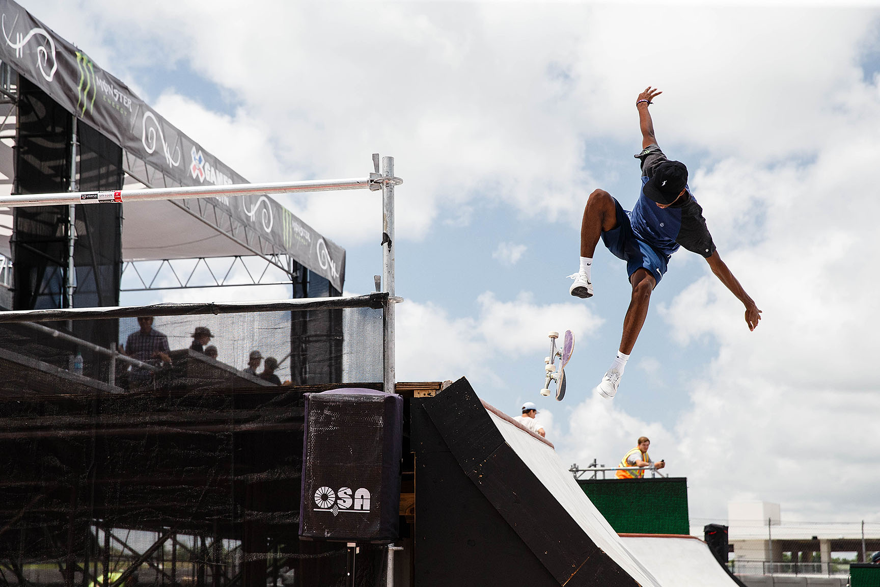 Brazil's Gabriel Fortunato works on his run. Skateboard Street Ams opens the day's competition on Friday, starting at 2:30 p.m. CT.