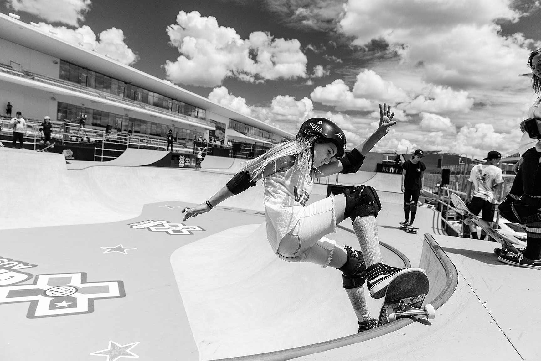 At 11 years, 10 months old, Brighton Zeuner will become the youngest female competitor in X Games history when she drops in during the Women's Park event on Saturday. Don't let her age and size fool you: She recently finished fourth at her first pro contest, the Vans Girls Combi Pool Classic in January, and then took second at Vert Attack in April. She's definitely a contender for the podium.