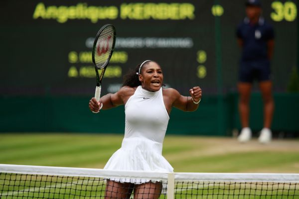 Serena Williams of The United States celebrates during The Ladies Singles Final against Angelique Kerber