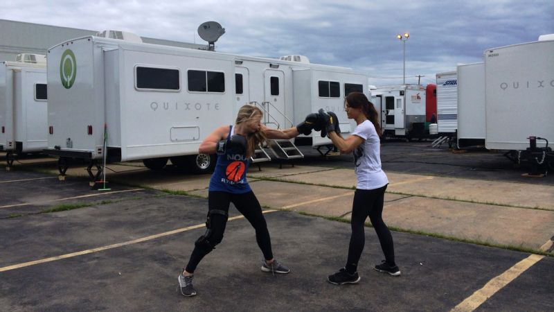 The stuntwomen spend a lot of their training time on fighting moves, since it's often a skill set they don't already have.