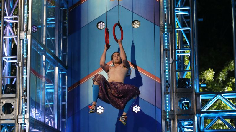 Thomas Stillings attempts the Invisible Ladder in the American Ninja Warrior Oklahoma City finals.