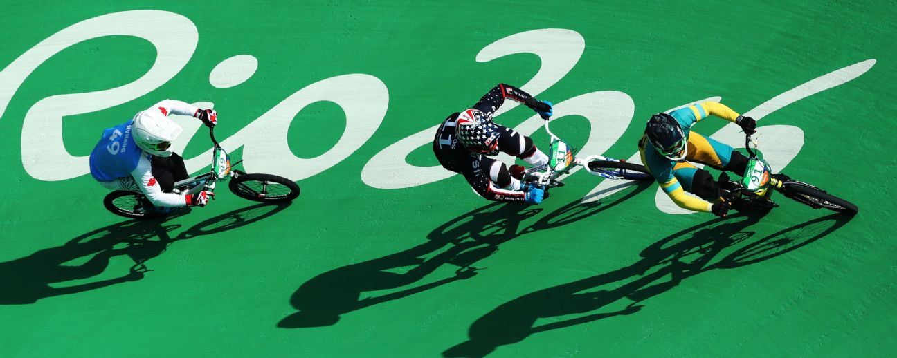 Sam Willoughby of Australia competes in the men's BMX semifinal at Rio.
