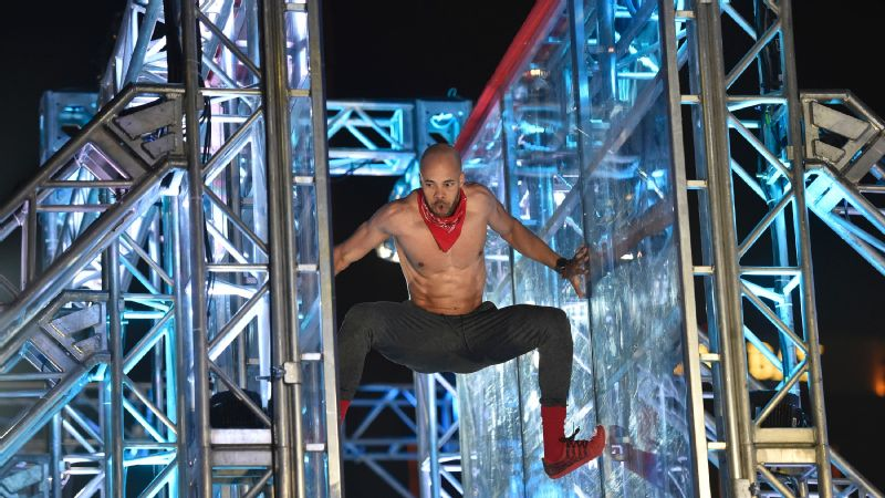Karsten Williams attempts the Jumping Spider in American Ninja Warrior national finals.