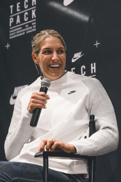Elena Delle Donne was all smiles at her Nike homecoming event in Chicago on Thursday night.