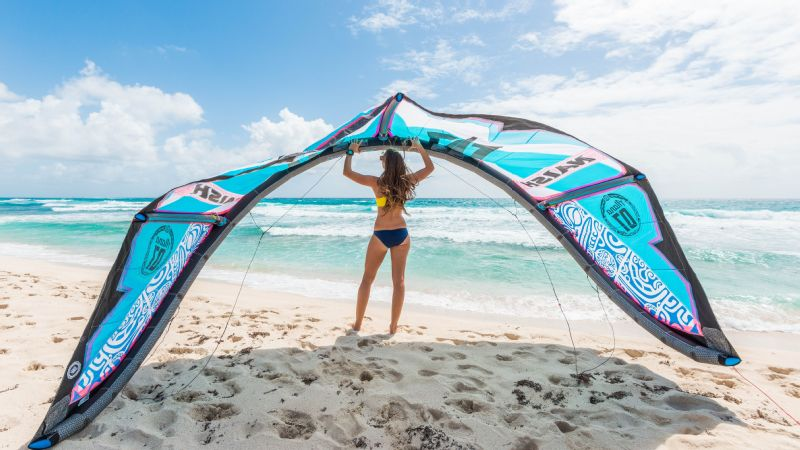 Kites are selected based on the wind conditions of the day and the skill of the rider, and can range from about 5 to 17 meters.