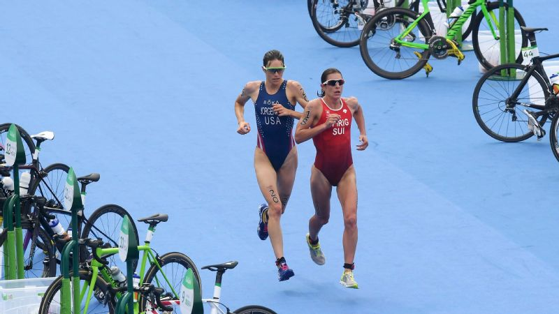 Gwen Jorgensen became the first American to win gold in the Olympic triathlon after passing Nicola Spirig of Switzerland in the final lap of the event in Rio.