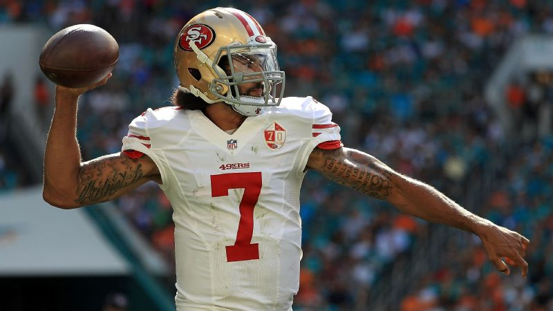 San Francisco quarterback Colin Kaepernick threw for 296 yards and three touchdowns against Miami in Week 12.