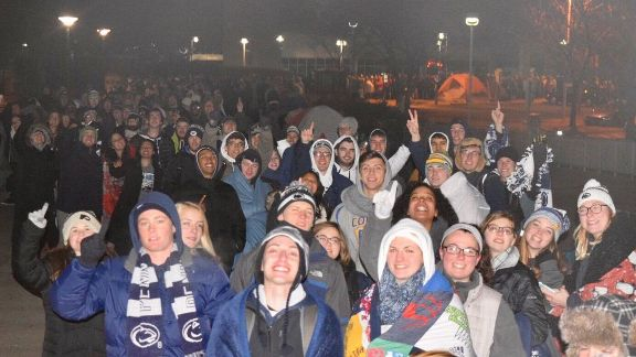 Penn State fans can't stop smiling at the Nittany Lions' success. Students lined up for tickets for the Big Ten title game on Saturday night, 33 hours before they went on sale. It was cold, said freshman Bryce Johnson, but it was worth it.