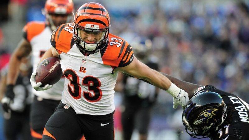 Cincinnati's Rex Burkhead is technically a running back, but he's also been used effectively as a slot receiver. Either way, this all-purpose player is a must for your postseason roster.