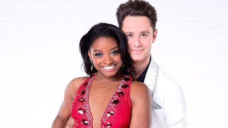 Simone Biles and her partner Sasha Farber are the frontrunners for the new season of Dancing with the Stars, which debuts on Monday.