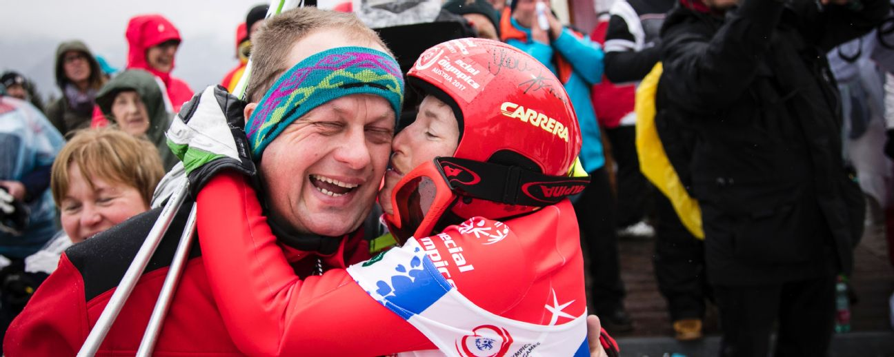 Austrian Alpine skier Barbara Plzl shares a special postrace moment with her uncle, Bernhard Klug, in the finishing area of the Super-G finals at slope 32 in Rohrmoos, Austria.