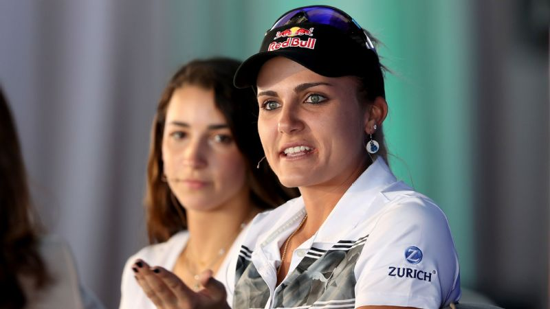 LPGA golfer Lexi Thompson, right, and U.S. Olympic gymnast Aly Raisman participate in the ANA Inspiring Women in Sports Conference.