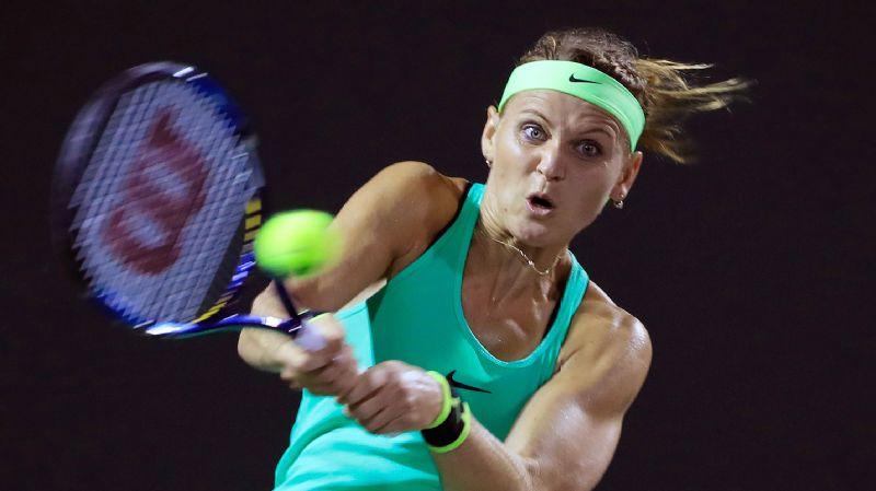 Lucie Safarova in action against Caroline Wozniacki during their Miami Open match.