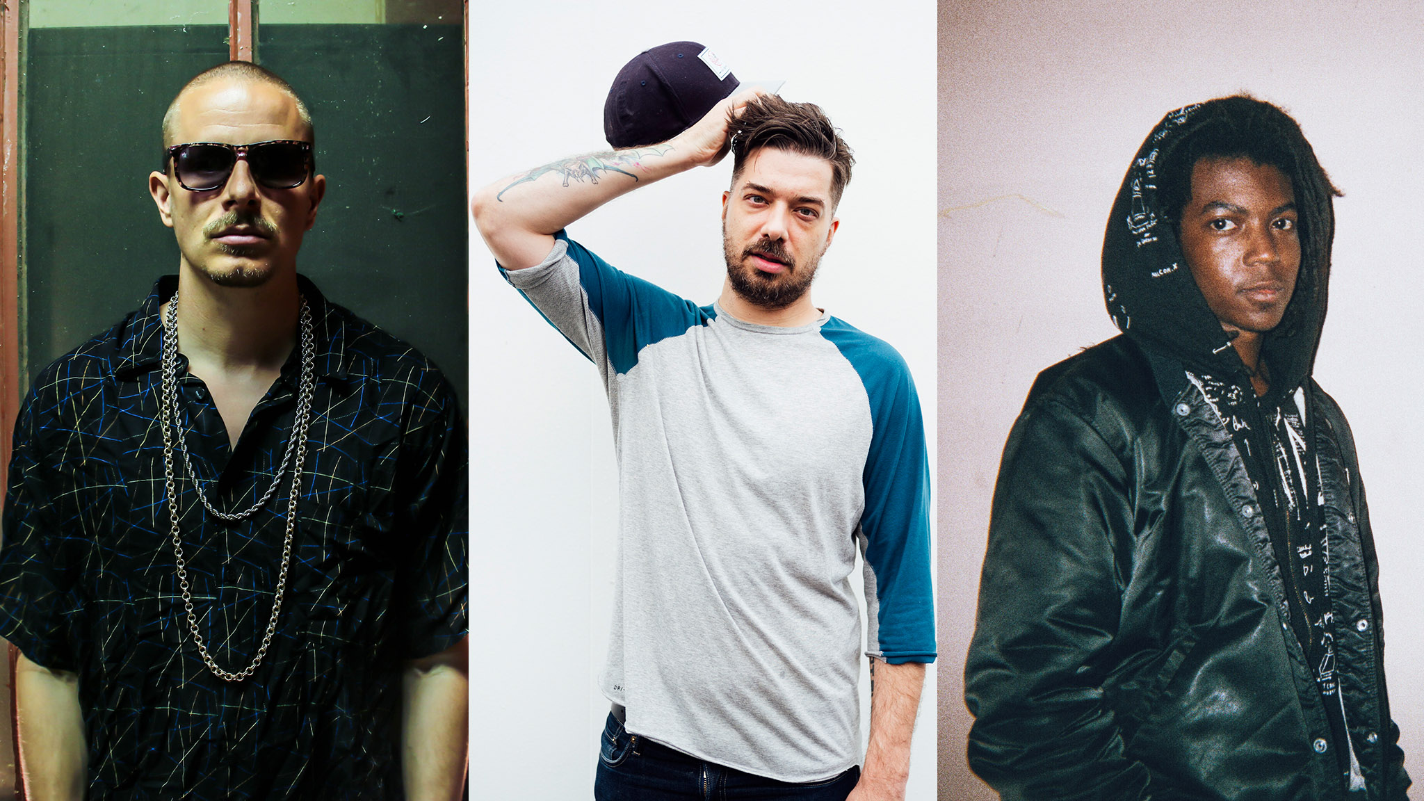 From left to right: Prof, Aesop Rock and deM atlaS are slated to perform at Minneapolis' famed First Avenue venue to kick off X Games Minneapolis 2017.