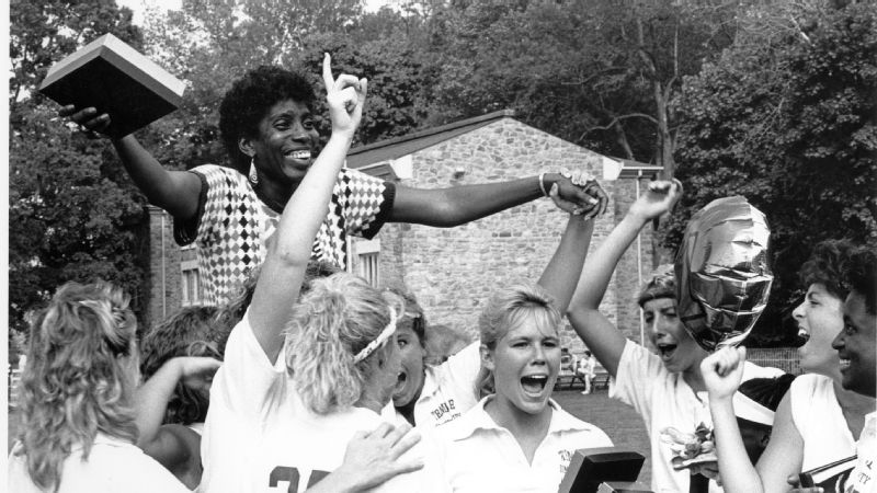 Tina Sloan Green, center, won three national championships as the head coach of women's lacrosse at Temple University from 1975 to 1992.