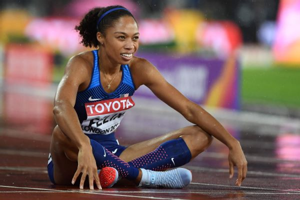 With her third-place finish in the women's 400 meters Wednesday, Allyson Felix moved into a tie with Jamaica's Merlene Ottey and Usain Bolt for the most career medals at the world championships (14).