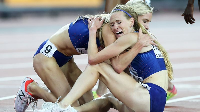 Emma Coburn and Courtney Frerichs are the first American women to finish 1-2 in the 3,000-meter steeplechase final at the world championships.