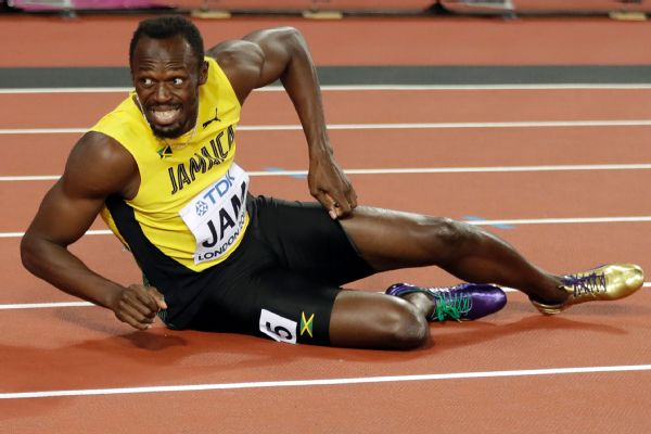 In what was expected to be the last competitive race of his career, Usain Bolt pulled up with an apparent left leg injury during the anchor leg of the men's 4x100-meter final on Saturday.