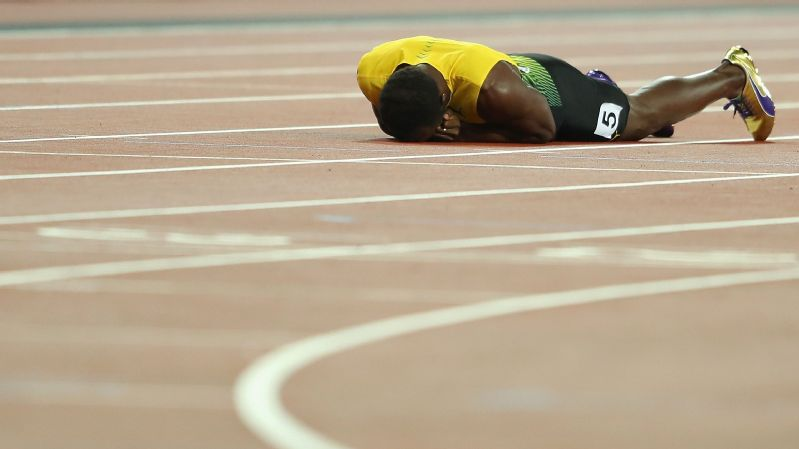 Usain Bolt fell to the track during the anchor leg of the men's 4x100-meter final Saturday, the final race of his historic career.