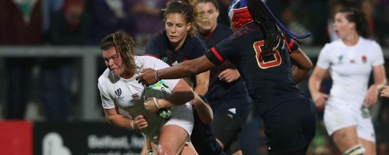 Sarah Bern was named player of the match as England set up a Women's Rugby World Cup against New Zealand.