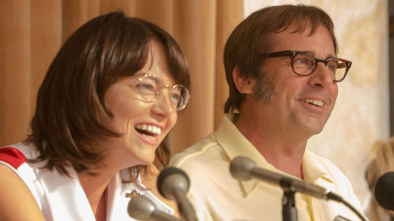 Emma Stone as Billie Jean King and Steve Carell as Bobby Riggs in the new film iBattle of the Sexes/i.