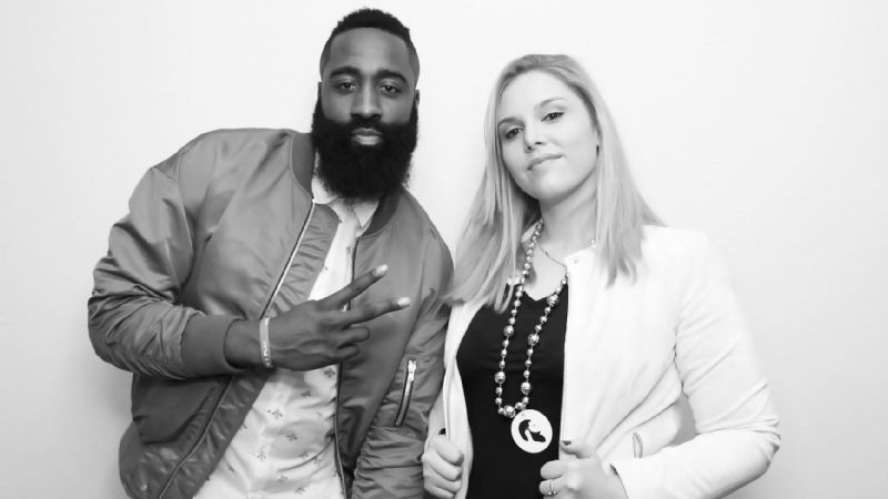 Photographer Cassy Athena, right, and Houston Rockets point guard James Harden in a photo booth.