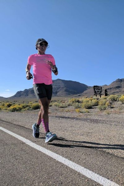 To get through endless days of running, Sandra Villines would sight an object in the distance and focus solely on getting to that point. This is Day 7, in Nevada, betweenTonopah and Warm Springs