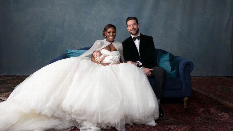 Serena Williams and husband Alexis Ohanian pose with their daughter, Alexis Olympia Ohanian Jr., on the couple's wedding day.