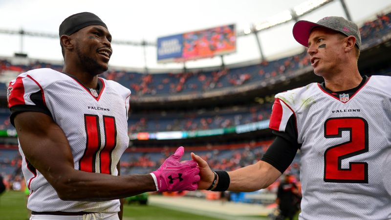 In Brotherhood. Two of the leagues best players, Julio Jones, left, and Matt Ryan, proving nice guys don't finish last.