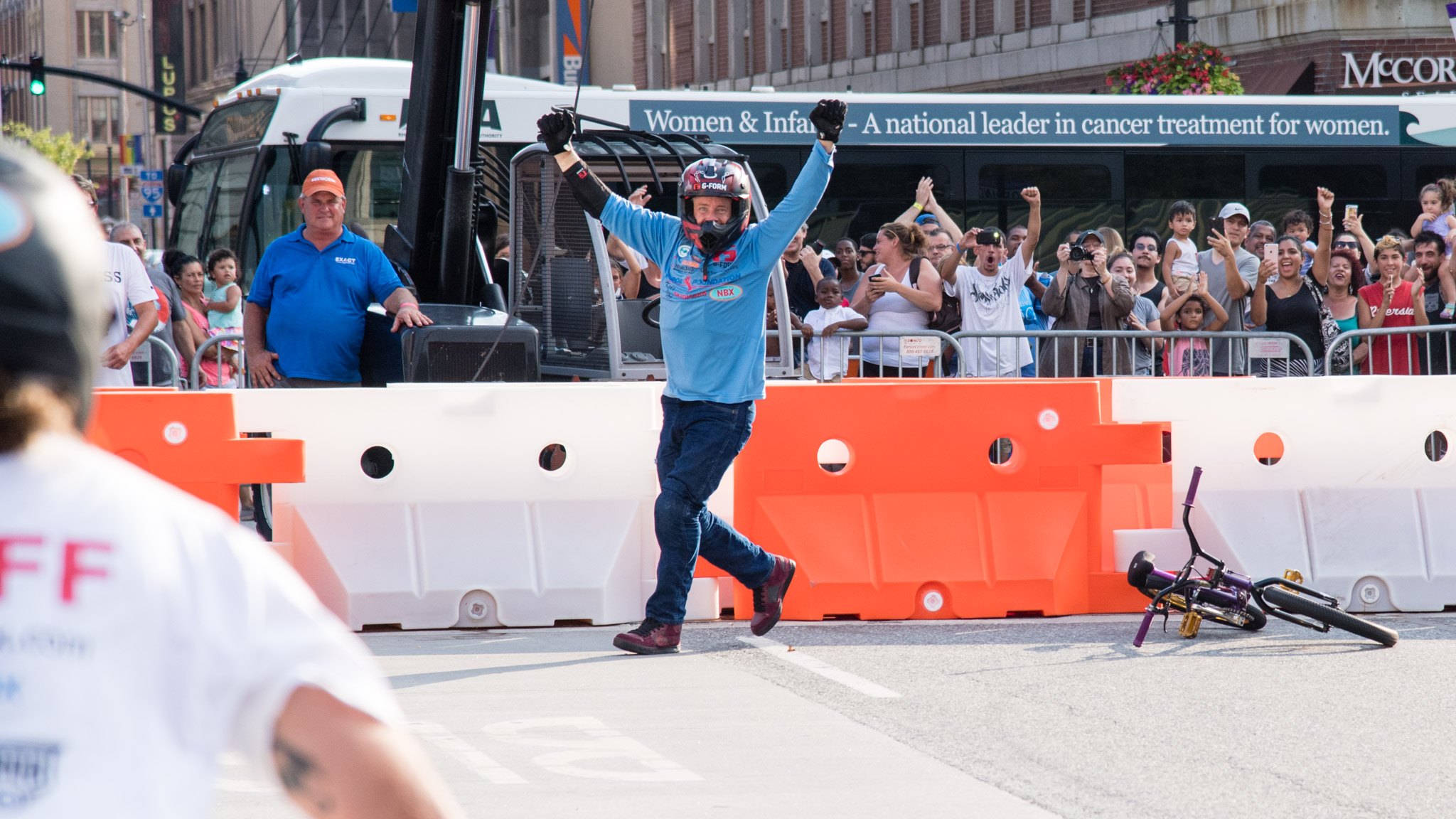 Kevin Robinson celebrates his world record BMX distance backflip in Providence, Rhode Island in August of 2016.
